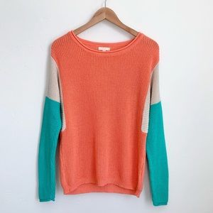 Pearl colorblock lightweight knit ribbed sweater